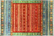 Afghan Ziegler Khorjin Animals Carpet Hand Knotted 210x300 Red Stripes Wool