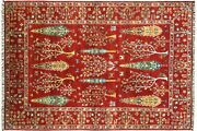 Afghan Brick Manufacture Ariana Trees Carpet Hand Knotted 200x300 Red Tree Wool