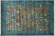 Afghan Ziegler Ariana Flowers Carpet Hand Knotted 180x250 Blue Edging Wool