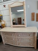 Braxton Culler Furniture Wicker Bedroom Set Wall Mirror Dresser And Night Stand