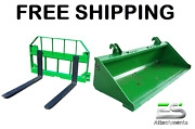 John Deere Jd 66 Smooth Bucket And 42 Pallet Forks Combo Free Shipping
