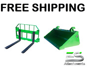 John Deere Jd 60 Smooth Bucket And 36 Pallet Forks Combo Free Shipping