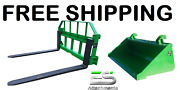 John Deere Jd 60 Smooth Bucket And 48 Pallet Forks Combo Free Shipping