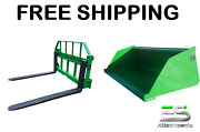 John Deere Jd 66 Snow/ Mulch Bucket And 48 Pallet Forks Combo Free Shipping