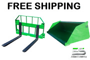 John Deere Jd 66 Snow/ Mulch Bucket And 42 Pallet Forks Combo Free Shipping
