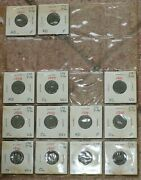 Canadian Small Cent Collection Of 50 Different Coins In Nicely Labelled 2x2and039s