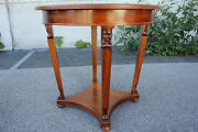 Antique Regency Style Walnut Round Center Accent Table