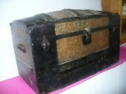 Vintage Dome Top Trunk Wooden Treasure Chest Late 1800and039s