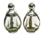 Pair Maciel Mexico Sterling Silver Overlay And Glass 3 Walled Pinched Decanters