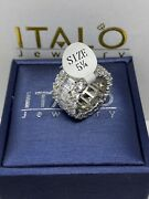 Italo Jewelry Womanand039s Triple Row Eternity Emerald/round Sapphire Ring Size 5.25