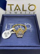 Italo Jewelry Womanand039s Halo Pear Cut Sapphire Yellow Gold Sterling Ring Size 5.75