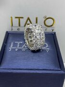 Italo Jewelry Womanand039s Triple Row Eternity Cushion/round Cut Sapphire Ring Size 8
