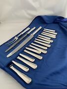 Solid Silver Table And Dessert Knives X 8 + Carving Set 1971 Sheffield Sterling