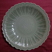 An Estate Chinese Ming Longquan Green Celadon Incised Flower Charger Dish