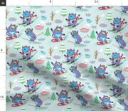 Yeti Skiing Mountain Forest Winter Snowboard Spoonflower Fabric By The Yard