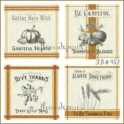 New Vintage Thanksgiving Be Grateful 4 Prints On Fabric Quilting Fb 432