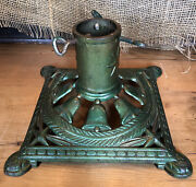 Antique Cast Iron Christmas Feather Tree Stand Germany Bells Stars Green