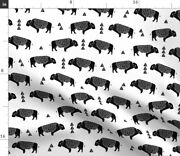 Bison Buffalo Americana Black And White Nursery Spoonflower Fabric By The Yard