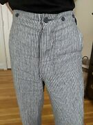 Old Town Uk Striped Linen Fishtail Trousers Mens Dress Pants Vauxhall 30-32 Gray