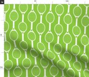 Tennis Green Racket Vintage Large Scale Spoonflower Fabric By The Yard