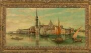 Edward Pritchett 1808-1879 Oil On Panel Seascape And City Painting Of Venice