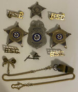 Lot Of Vintage Obsolete Police/sheriff Badges Pins And Whistle