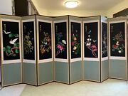 Korean 8 Panel Silk Screen Embroidery 11andrsquo W X 5.3andrsquo H Room Divider