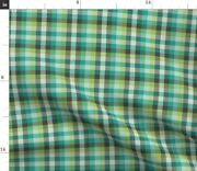 Green Teal Plaid Check Jade Madras Oolongpalette Spoonflower Fabric By The Yard