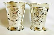 Chester Silver Antique Pair Of Fine Cachepot Vases Scottish Thistle Pattern 1905