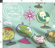 Globes Maps Travel World Earth Earth Mint Green Spoonflower Fabric By The Yard