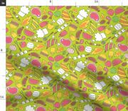 Picnic Bbq Meat Marshmallow Watermelon Food Spoonflower Fabric By The Yard