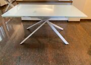 Table Base Metal Plan White Glass 2 Extending From 15 11/16in - Item 950