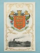Jersey Coat Of Arms And S.s. Roebuck By Elizabeth Castle - F.ford Vintage Postcard