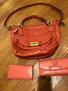 Coach - 100 Leather Handbag - Coral - Matching Leather Wallet And Checkbook