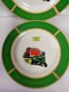 """John Deere Dishes 1935 Model B Tractor Made By Gibson Set Of 4 Dinner Plates 11"""""""