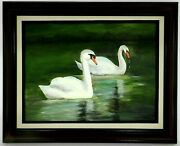 M.jane Doyle Signed Original Art Oil/canvas Painting Turf Valley Swans Framed