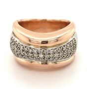 Signed Sonia B. Rose And White Gold Pave Diamond Thick Band Ring 14k Tt - Size 9