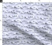Nature Birds Forest Landscape Flying Mist Hills Spoonflower Fabric By The Yard
