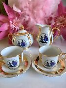 Vintage Chezch Coffee Cups Saucers Sugar Milk Jug Set Courting Couples Gold