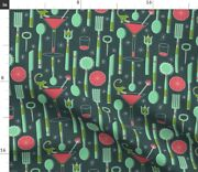 Party Spoon Fork Cocktail Knife Drink Grapefruit Spoonflower Fabric By The Yard