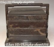 11 Unique Chinese Ebony Wood Pure Hand Carving Ancient Lunch Box Canteen Statue