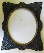 Antique Elaborate Ornate Gesso Black Gold Wood Oval Picture Frame Holds 16 X 20