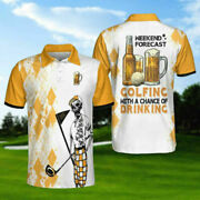 Weekend Forecast Beer And Golf Short Sleeve Polo Shirt Gift For Men Summer Hot