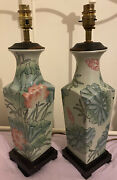 Pair 2 Tall Vintage Chinese Lily Oriental Enamel Urn China Table Lamps Lights