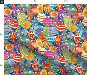 Christmas Baubles Holiday Decorations Multicolor Spoonflower Fabric By The Yard