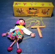 1960's Mother Jc Toy Marionette Vintage Pelham Puppets With Box Clean England