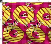 Yellow Fruit Pineapple Grill Wasp Barbecue Spoonflower Fabric By The Yard