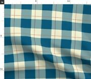 French Blue Plaid Buffalo Check Farmhouse Country Spoonflower Fabric By The Yard