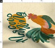 Rooster Breakfast Farmhouse Brunch Farm Chickens Spoonflower Fabric By The Yard