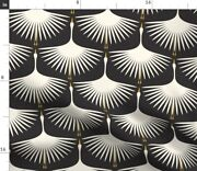 Art Deco Swan Water Bird Fly Black White Spoonflower Fabric By The Yard